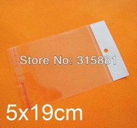 Plastic Bags Clear in size 5X19cm with self adhesive seal and with hanging header & Free Shipping