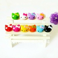 100Pcs/lot Free shipping mixed colors Acrylic resizable Ring finger ring lovely hello kitty rings jewelry jewellery
