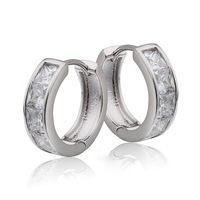 Diamante Platinum CZ CC Hoop Huggie Earrings For Women 18K White Gold Plated Earings Fashion Free shipping (EW-01)