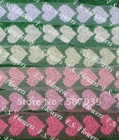 50y/400pcs 13x10cm Valentine Day chiffon rose flower heart applique lace hair clothing accessories 18 colors for selection