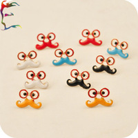 Wholesale 24paris/lot fashion 5 Color Afanty eye glasses mustache stud earring cute metal gift factory earring jewelry Free ship
