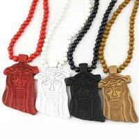 Hot 2Pcs/Lot JESUS Piece Rosary God Necklace CHRIST Wooden Pendant Chain High Quality