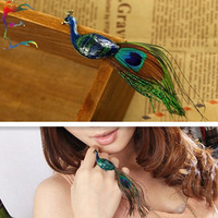 Wholesale 12pcs/lot fashion big Peacock Feather finger ring party gift bird animal novelty charm pendant ring jewelry Free ship