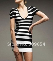 Free Shipping Lady&#39;s Dress Fashion Homecoming Party Dress Bandage Celebrity Dress Silk Black White Stripe V-Neck Short