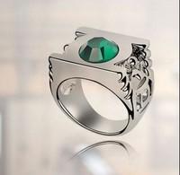 Austrian Crystal Wedding Rings For Women Fashion Jewelry 18k White Gold Plated Green Lantern DC Super Hero Metal Power Ring 4183