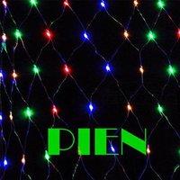 Christmas LED Net Light 1.5m x 1.5m 96 LED RGB string Lights luminaria blue warm white 220V +Power plug Free Shipping 6set/lot