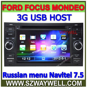 2 Din Auto radio Car DVD radio player RDS FOR FORD focus with 3G function 8gb card new map russian menu