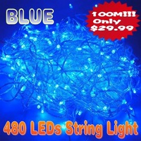one piece 100m blue 480 led string light party fairy tree christmas xmas free shipping
