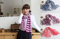 Free shipping! Women Polyester Voile  Stripe Printed colorful Scarf Shawl Wrap (PP005L)