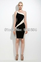 MOQ1+Free Shipping 2012 Ladie's Sexy One-Shoulder Mini Bandage Celebrity Cocktail Dress Wholesale&Retail Guaranteed 100% Cheap