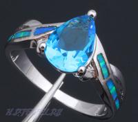 Designer ! Blue Fire Opal & Blue Zirconia 925 Silver sterling wedding Ring USA Size  #5.5 #7 #7.5 Fashion Opal Jewelry *OR205