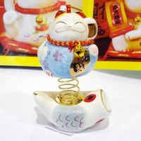 8.5cm spring ceramic maneki neko, lucky cat, fortune cat,wealthy cat,car inner decor, desk display,53233