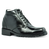 9808 - black color - height increasing elevator gothic boots with lace up - get taller 3.5 inches instantly for men