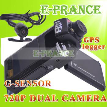 Dual lens HD 720P Dual Lens Car Dvr Dual Camera +GPS logger+ G-Sensor +External Rear view Camera+110 degree+ 2.5 Inch LCD Screen
