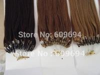 """18"""" 20"""" 22"""" 100gram/pk micro ring hair / loop hair extensions 100% Indian Remy Human Hair black brown blond 006"""
