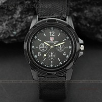 MINGEN SHOP - Hot sale Fashion Outdoor Sport quartz watches Fabric Strap Black Dial Q0092 watch wholesale