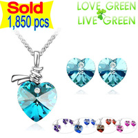 Top selling Free Shipping Wholesales Brand Austrian Crystal Ocean Heart Pendant Necklace Earrings 10 colors Jewelry sets 23082