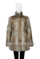 YR-223-A Genuine rabbit fur coat natural and black color ~wholesale~detail~OEM~