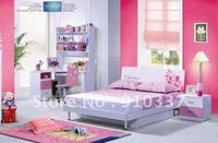 4 Pcs New Full Size Bedroom Set MDF Panels Children Furniture,Bookcase ,Bed, Nightstand ,Three doors wardrobe
