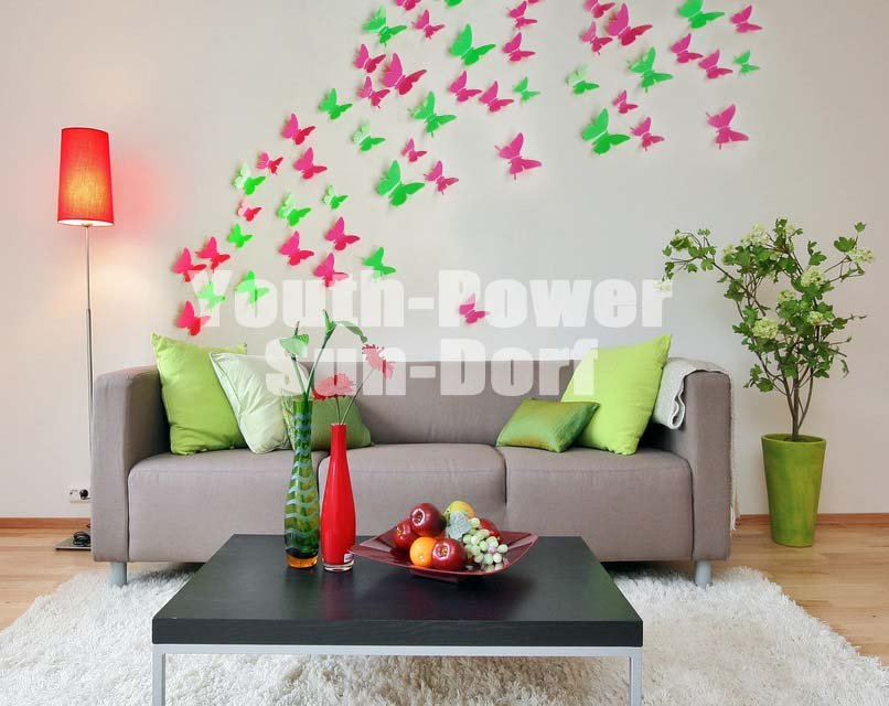 3D Wall Sticker Butterfly 30pcs Home Room Decor Decorations Pop Up .