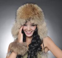 FREE SHIPPING*100% Real Fox Fur Cap/ Raccoon Fur Cap/ Genuine Fur Hat *Wholesale & Retail SU-11128