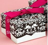 FREE SHIIPPING!Hot sell ! Damask Wedding Candy Box/cake box/chocolate box with ribbon