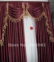 FREE SHIPPING Top Quality finished heavy blackout curtain Velvet Double Side, Embossed , Insulated