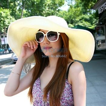 Hot Fashion Women's Foldable Wide Large Brim Floppy Summer Beach Sun Straw Hat Cap Free Shipping b14