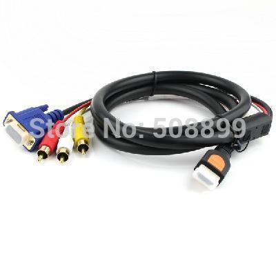 New Gold HDTV HDMI TO VGA HD15 3 RCA Adapter Cable 5FT 1.5M Free Shipping+Dropshipping(China (Mainland))
