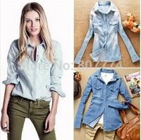 Hot sale European women denim blouse slim jeans shirt lady's elegant quality blouse 2014 spring fashion denim blouse S-XXL #1233