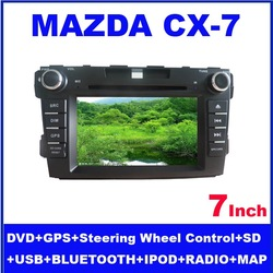 7 inch Car gps tracker for Mazda CX-7 with FM AM Touch Screen Bluetooth DVD MP3/MP4 iPod connection free shipping(China (Mainland))