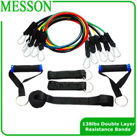 Free Shipping 138lbs high quality 11pcs resistance bands set with heavy duty handles