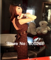 Free shipping ladies' fashion Super Sexy hot night club Lingerie Style Lace Braces Dress Brown New#5109