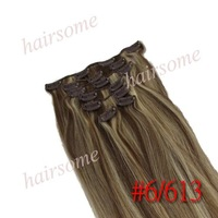 "15"" 18"" 20'' 22"" queen  virgin Brazilian hair weft products,free shipping 7pcs clip in human hair extension,brown&blonde"