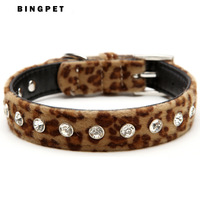 Free Shipping! MOQ 12pcs Big Rhinestones Animal Printed Velvet Dog Collars 3 Colors Available
