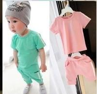 2010 new Baby suit boy girls Sport suits 369 number baby 2pcs set children short sleeve cream 369 sport shirt pant clothing set