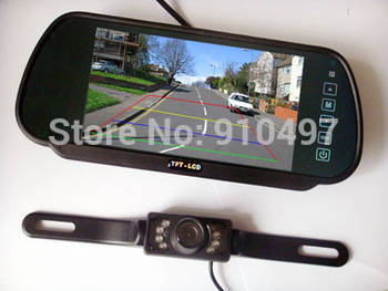 "New 7"" Car LCD Monitor Mirror + 7 IR LED Night Vision Reversing Car Rear View Backup Camera Kit"