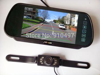 """New 7"""" Car LCD Monitor Mirror + 7 IR LED Night Vision Reversing Car Rear View Backup Camera Kit"""