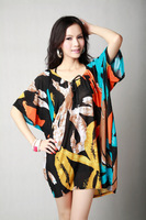 2013 New fashion Europe/Ameria casual summer bat-wing sleeve  fair maiden style women's dress,etra large/big size