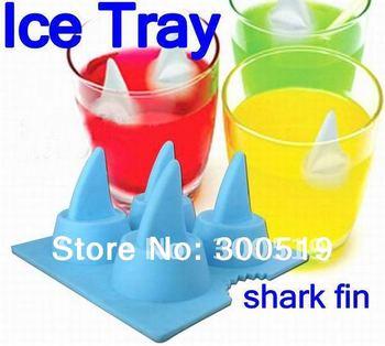 H025 Creative novelty shark fin ice tray ice mold silicone ice box 12pcs/lot