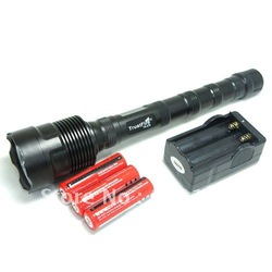 Super Bright Cree T6 LED lengthening Flashlight torch 3800 Lumens Zoomable Torch flash light+18650 recharger battery +charger(China (Mainland))