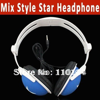 Mix Style Star headphone earphone headset 3.5mm for phones mp3 mp4 pc laptop free shipping