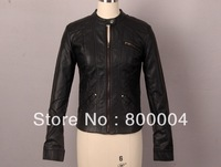 Free shipping Spring&Autumn black slim fake leather biker jackets