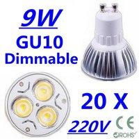 20X 60X Discount High power CREE GU10 3x3W 9W 220V Dimmable Light lamp Bulb LED Downlight  Led Bulb Warm/Pure/Cool White