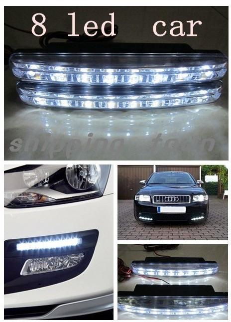 12V Free shipping 2pcs 8 LED Universal Car Light DRL Daytime Running Head Lamp Super White WITH RETAIL BOX#A0002(China (Mainland))