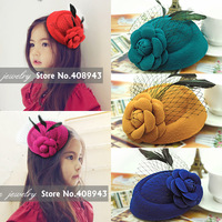 New fashion 11color Girl/Woman fascinator feathers hats hair clips Woolen flower hairpins Cocktail bridal hair accessories H9511