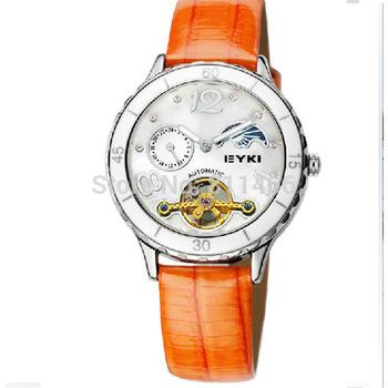 EYKI Women's watch Self Winding Automatic watch leather strap lady mechanical watch EEL8548G-RG