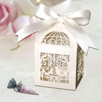 "New Arrival FB1003-02(big) 12pcs/set 2.4""*2.4""*3.5"" Laser Cut  birdcage wedding Favor box(Color can be customized)"