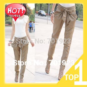 Free shipping 2014 new Hot sale LADIES fashion Bow harem pants 2colour Black, Khaki S M L XL Y3025