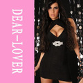 Glamorous Close-fitting Deep V Mini Dress LC2432 Women Clothing Black Pencil Dress